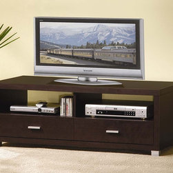 Wholesale Interiors - Derwent Modern TV Stand - Two drawers and two open shelves. Silver hardware accents. Accommodates either flat panel or older larger tube television sets with equal finesse. Wipe with a damp cloth. Made from wood effect veneered lapped chipboard. Dark brown finish. Assembly required. 47 in. W x 23.32 in. D x 17.75 in. H (83 lbs.)Simple, contemporary, and free of unnecessary bells and whistles, the functional Derwent TV Stand has the essentials for displaying and storing your television, sound system, and peripherals.