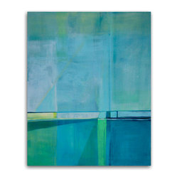 """Set Sail"" by Victoria Kloch - Bring a modern coolness to your wall wit this geometric-style, modern abstract painting by Victoria Kloch. You'll find yourself in a reverie, gazing at the overlapping colors used: blue, green, aqua and soft yellow."
