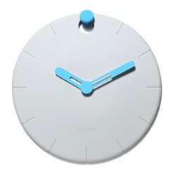 Praxis - Hoock Wall Clock - Every room in your modern home deserves a chic clock. Hang this rubber version easily as the post doubles as the 12 o'clock marker. The minimalist look keeps time while looking effortlessly stylish in your home.