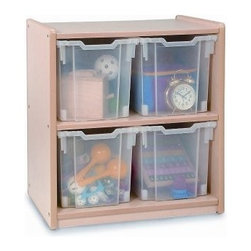 Whitney Brothers Jumbo Tray Melamine Storage Cabinet - Smart storage for toys or books, the Whitney Brothers Jumbo Tray Melamine Storage Cabinet includes four generous clear plastic bins that let you see what's inside. A sturdy storage cabinet, this one is made of maple melamine that is GreenGuard certified. It has a fixed shelf and comes complete with a lifetime manufacturer's warranty.About Whitney BrothersSince 1904, Whitney Brothers has been using classic cabinetmaking techniques to produce safe and sturdy educational toys. Now, they're also a leader in developing versatile, innovative furniture and storage systems for schools, daycare centers, and private homes. When they design and manufacture their educational toys and furniture, Whitney Brothers uses the finest hardwoods and veneers and traditional joinery methods for extra strength. Edges and corners are always rounded smoothly and finished by hand. All of their glues, paints, and finishes are nontoxic and easy to clean.