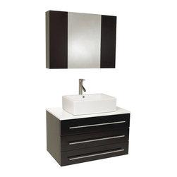 Fresca - Fresca Modello Espresso Modern Bathroom Vanity w/ Marble Countertop, Espresso, M - Fresca Modello Espresso Modern Bathroom Vanity w/ Marble Countertop