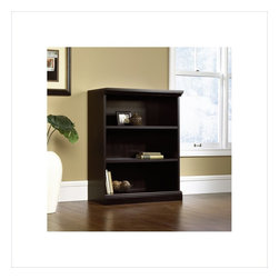 Sauder - Sauder 3 Shelf Bookcase in Estate Black - Sauder - Bookcases - 412176 - This bookcase is a practical addition to any home or office. Featuring two adjustable shelves this bookcase will add style and storage to any room. Estate Black finish.
