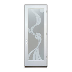 Sans Soucie Art Glass (door frame material Plastpro) - Glass Front Entry Door Sans Soucie Art Glass Ribbon Reflection Private - Sans Soucie Art Glass Front Door with Sandblast Etched Glass Design. Get the privacy you need without blocking light, thru beautiful works of etched glass art by Sans Soucie!  This glass provides 100% obscurity. (Photo is view from outside the home or building.) Door material will be unfinished, ready for paint or stain.  Bronze Sill, Sweep.  Satin Nickel Hinges. Available in other finishes, sizes, swing directions and door materials.  Dual Pane Tempered Safety Glass.  Cleaning is the same as regular clear glass. Use glass cleaner and a soft cloth.