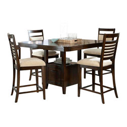 Standard Furniture - Standard Furniture Avion 6-Piece Counter Dining Room Set in Cherry - Avion Dining has smooth transitional styling that gives it great decor versatility and ensures broad and long lasting appeal.