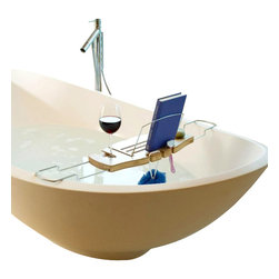 Umbra - Umbra Aquala Bamboo Bathtub Caddy - Relax in luxury with the Aquala Bathtub Caddy by Umbra. Constructed of natural bamboo and chrome-plated stainless steel, this deluxe caddy features a built-in wine glass holder (fits most standard stemware glasses), a book prop for reading material, and a self-draining soap dish. The metal arms extend up to 37 inches across to span a variety of tub widths. Slide in the arms and fold down the book prop for compact storage when not in use. The natural bamboo is fully sealed and will not split or discolor in moisture.