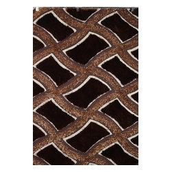 Rug - ~5 ft. x 7 ft. Brown Hand-tufted Living Room Shaggy Area Rug - Living Room Hand-tufted Shaggy Area Rug