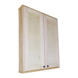 None - Shaker Series 36-inch Double Door Wall Cabinet - Spice up your home decor with this 36-inch Shaker Series cabinet. This will mount on the wall with built in cleats inside for an easy installation. This sleek cabinet completes with two fully adjustable glass shelves in each side of the cabinet.