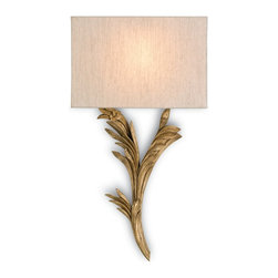 Currey and Company - Bel Esprit Wall Sconce, Left - Looking good but slimmed down for action, the newest collection of wall sconces from Currey & Company is designed to be compliant with Americans with Disabilities Act. The design team has created a wall sconce collection that reflects the unique Currey & Company point of view. Hand-applied finishes, natural materials and high quality fabrics are used to create a decorative, yet functional collection.