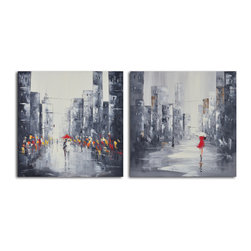 City puddles scape Hand Painted 2 Piece Canvas Set - This set of two charming paintings depicts a rainy cityscape brightened by its inhabitants. If you love rainy days and have a soft spot for urban landscapes, these paintings will strike a chord with you. Hand painted with acrylic on canvas stretched over a wooden frame, you can hang these once they arrive.