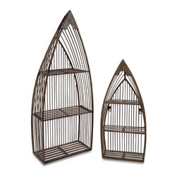 iMax - iMax Nesting Boat Shelves X-2-76601 - Set of Two Matching Wrought Iron Nesting Boat Shelves with Cut Outs throughout and Neutral Finish