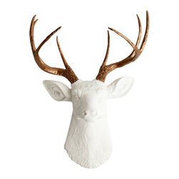 White Faux Taxidermy - The Lydia - White Faux Resin Deer Head w/Bronze Antlers - Measurements: