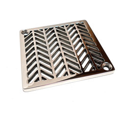 Designer Drains - Geometric Wheat Shower Drain - You're attending to every design detail in your bathroom — and this shower drain makes the perfect finishing touch. A bold pattern in polished stainless steel puts impressive style and shine at your feet. Drain sizes vary. Please measure carefully before ordering.