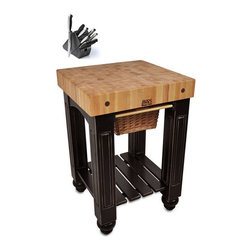 John Boos - John Boos CU-GB25-BL Black Slide-out Cutting Board Gathering Block Table (25x24 - This gathering block is designed to serve as a centrally-located food preparation kitchen island,providing quick and easy access to and from counters,sinks,refrigerator and range areas. The solid 4-inch square legs support the butcher block.