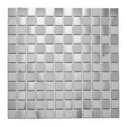Dah Shi Metal Industrial Co., Ltd - 304 Stainless Steel Mosaic Tiles. Kitchen / Bathroom. Indoor / Outdoor - 304 Stainless Steel with a mesh backing for easy installation. Our heavy duty stainless steel mosaic tiles are made with a heavy porcelain base. These stainless steel tiles are great for vertical surfaces such as a backsplash for a stove top in the kitchen. Unsanded grout is required for the installation for stainless steel tiles.