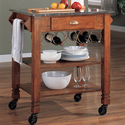 Coaster - Kitchen Island (Granite Top) in Oak - Oak finish kitchen cart with granite top and wine storage.