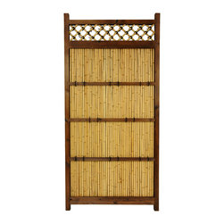 Oriental Furniture - 6 ft. x 3 ft. Japanese Bamboo Zen Garden Fence - Tall Japanese garden fence with bleached bamboo trellis. Durable dark walnut frame with short block feet. Center panel of authentic narrow bamboo poles has bamboo cross-beams and decorative black ties for added support. Top lattice has matching black ties at each cross. A tranquil semi-privacy fence for your garden, yard, or porch.