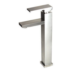 """TCS Home Supplies - Lead Free Bathroom Lavatory Vessel Sink Faucet - 12-1/4 x 9 Inch - Featuring crisp edges and contemporary styling, this faucet screams European prestige. Single handle lever above the 90-degree faucet ensures ease of use. Available in brushed nickel, chrome, or oil-rubbed bronze finishes. Dimensions: 12-1/4"""" x 9""""."""