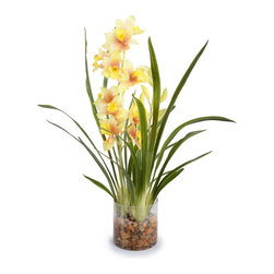 New Growth Designs - Cymbidium Arrangement - There's nothing quite so stunning as an orchid — and this lush, exotic plant is no exception. It has, however, a secret: It will bloom in your favorite setting forever. So realistic, everyone will believe it came straight from the hothouse to your house.