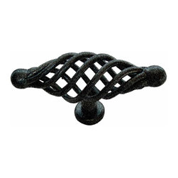 Renovators Supply - Cabinet Pulls Birdcage Black Wrought Iron Cabinet Pull 3 1/4'' - Birdcage Pulls, sold individually. These outstanding Knobs crafted of hand-forged wrought iron are popular on drawers and cabinet doors. A fabulous detail for a modern sleek look or for that Old Colonial charm. Affordably reclaim old cabinet doors & drawers or update a piece of office furniture or bedroom dresser. Our exclusive RSF coating protects this item for years to come. Mounting hardware included.
