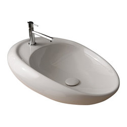 Scarabeo - Oval Shaped White Ceramic Vessel Bathroom Sink, One Hole - Oval shaped white ceramic vessel bathroom sink. Stylish round over the counter sink has no overflow and one pre drilled hole. Made in Italy by Scarabeo.