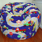 "Bean Bags for Boys - Ahh! Products On the Road anti-pill bean bag chair. Remove and wash cover, water-repel liner. 37"" large size. 10 year warranty, Made in USA."