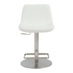 Eurostyle - Sierra Adjustable Bar/Counter Stool-Wht/Ss - Leatherette seat and back over foam