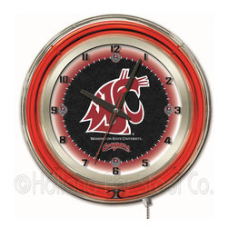 Holland Bar Stool - Holland Bar Stool Clk19WashSt Washington State 19 Inch Neon Clock - Clk19WashSt Washington State 19 Inch Neon Clock belongs to College Collection by Holland Bar Stool Our neon-accented Logo Clocks are the perfect way to show your school pride. Chrome casing and a team specific neon ring accent a custom printed clock face, lit up by an brilliant white, inner neon ring. Neon ring is easily turned on and off with a pull chain on the bottom of the clock, saving you the hassle of plugging it in and unplugging it. Accurate quartz movement is powered by a single, AA battery (not included). Whether purchasing as a gift for a recent grad, sports superfan, or for yourself, you can take satisfaction knowing you're buying a clock that is proudly made by the Holland Bar Stool Company, Holland, MI. Clock (1)