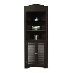 River Ridge - Ellsworth Tall Corner Etagere in Espresso - Convenient corner design with two door shutter styling in a tall cupboard. ncludes three open shelves on top for additional storage or display space and one shelf in the bottom cabinet. MDF Wood Composite. Espresso painted finish. Easy assembly. 16.73 in. L x 23.22 in. W x 71 in. H ( 49 lbs.)
