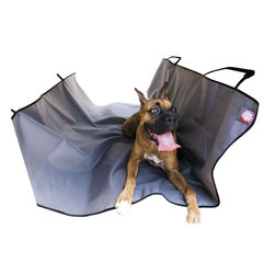 Majestic Pet Products - Grey Universal Waterproof Hammock Back Seat Cover - Majestic Pet Products Grey Universal Waterproof Hammock back seat cover provides a protective barrier from the front seating area, preventing your pet from entering or falling off at those quick stops. We have made it easy for you to stay safe while hanging out in the back seat with your pet, by creating slits in the center of the hammock for seat belts to be worn while cover is installed. This cover has four adjustable nylon straps that attach to the front and rear headrest, making for easy installation.