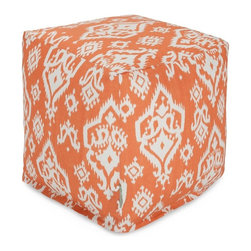 Majestic Home Goods - Peach Raja Small Cube - Add style and color to your living room or bedroom with Majestic Home Goods peach Raja small cube ottoman. This cube is perfect for use as a footstool, side table or as extra seating for guests. Woven from cotton duck or twill, these cube ottomans are durable yet comfortable. The beanbag inserts are eco-friendly by using up to 50% recycled polystyrene beads, and the removable zippered slipcovers are conveniently machine-washable. Wash in cold water with a mild detergent such as Wool-Lite and hang dry. Wash in cold water with a mild detergent such as Wool-Lite and hang dry.