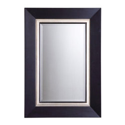 Uttermost - Uttermost 14153 B Whitmore Vanity Mirror In Black - This wood frame has a matte black finish with a silver leaf inner liner and a gray glaze. Mirror is beveled.
