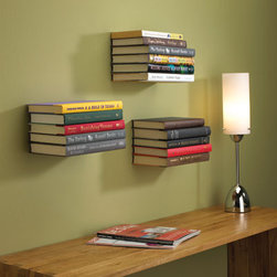 """Conceal Floating Bookshelf - These """"invisible"""" floating shelves turn your books into works of art on the wall. I think even Jane Austen would approve of her tomes being displayed like this."""