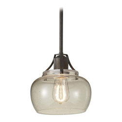 Feiss Lighting - Retro Style Mini-Pendant Light with Seeded Glass Shade - P1234RI - Consider pairing this mini-pendant light with a Edison carbon filament bulb, product for a full vintage effect. Takes (1) 100-watt incandescent A19 bulb(s). Bulb(s) sold separately. CUL listed. Dry location rated.