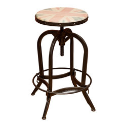 Great Deal Furniture - Dempsey Adjustable Stool w/ UK Flag Decal - The Wood Top UK Bar Stool offers pops of color in a tasteful way. The painted UK flag to a wooden surface creates an antique look, juxtaposed against the steel frame to create a unique overall look for any room in your home.