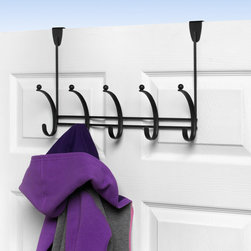Hooks & Racks - Add extra storage to any room in your home with the decorative Voy Over the Door 5-Hook Rack by Spectrum. Perfect for dorms, apartments, condos and rentals where space can be limited, this stylish rack offers five hat and coat style hooks to store your hats, coats, clothing items, purses, towels, robes and more. Made of sturdy steel. Fits doors up to 1-3/4'' thick.