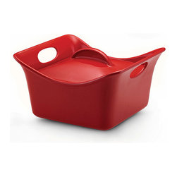 Rachael Ray - Rachael Ray Red Stoneware 3.5-quart Covered Square Casserole Dish - Excite your dinner guests by bringing this vibrant,fun square baking dish to the table. Whether it be a baked chicken or cheesy pasta,food has never looked so stylish.