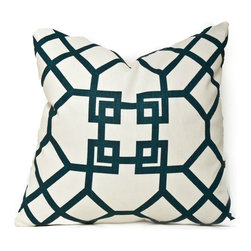 Society Social - Ming Trellis Pillow, Navy - A hint of chinoiserie is sometimes all a room needs for polish, and this trellis pillow is certain to provide it. Done in verdant green or inky navy, the crisp contrast with the linen background makes for an impact.