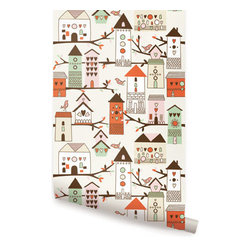 Birdhouse Orange - Birdhouse peel & stick fabric wallpaper. This re-positionable wallpaper is designed and made in our studios in New Jersey. The designs are printed onto an adhesive backed fabric that can be removed, repositioned and reused over and over again. They do not leave any residue on your walls and are ideal for DIY room makeovers without the mess and headaches of traditional wallpaper.