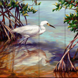 The Tile Mural Store (USA) - Tile Mural - Heron Walking On Water - Kitchen Backsplash Ideas - This beautiful artwork by Laurie Snow Hein has been digitally reproduced for tiles and depicts a Heron looking for lunch on the coastline.  Images of waterfowl on tiles are great to use as a part of your kitchen backsplash tile project or your tub and shower surround bathroom tile project. Pictures of egrets on tile, images of herons on tile and decorative tiles with ducks and geese make a great kitchen backsplash idea and are excellent to use in the bathroom too for your shower tile project. Consider a tile mural of water fowl for any room in your home where you want to add interesting wall tile.