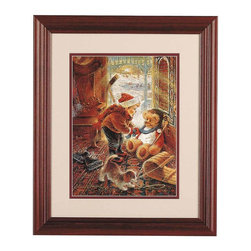 Renovators Supply - Prints You'll Play Goalie Print Cherry Fin Wood Frame 15.5 x 18.5 | 64822 - You'll Play Goalie Print 15 1/2 in. x 18 1/2 in. From Stewart Sherwood's Joys of Childhood collection. Cherry finish frame. Measures 15 1/2 in. x 18 1/2 in.