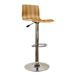 Baxton Studio - Baxton Studio Lidell Wood Bar Stool - For a minimalistic modern wood bar stool, this simple design is as functional and versatile as can be. Each stool features an engineered wood seat with light veneer finish as well as a steel base and frame with chrome finish. Dine, entertain, and relax comfortably with a height-adjustment feature and 360 degree swivel. Assembly is required.