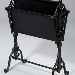 AA Importing - Cast Iron Magazine Rack in Black Finish w Met - Black painted cast iron frame. Metal dividers. 16 in. L x 9 in. W x 25 in. H