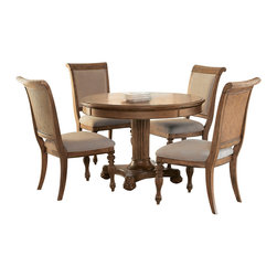American Drew - American Drew Grand Isle 5-Piece Round Dining Room Set in Amber - The Grand Isle collection is a lifestyle bedroom and dining room group that offers high end, yet casual up to date tropical style with multiple options for any room of the home; creating a collection that is perfect for many homes, vacation homes or even smaller size vacation condos. The amber finish has a warm overtone with subtle dark burnished accents that make the natural soft distressing show through. Design elements used in Grand Isle include carved and shaped pilasters, woven drawer fronts and a louver motif; all adding a higher end look to the collection. This collection is sure to add a relaxed, yet sophisticated style to most homes and offers plenty of options to help with storage and organization.