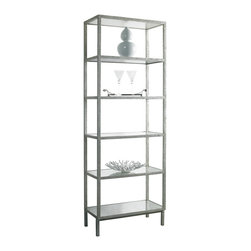 Lillian August - Lillian August Pickford Bookcase Slim in Silver LA96352-01 - A narrower and shorter version of our best selling pickford tower bookcase in the same elegant aged silver textured finish with inset eglomise mirrored shelves.
