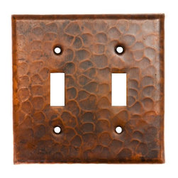 Premier Copper Products - Copper Switchplate Double Toggle Switch Cover - Dimensions: 4.5 in. x 4.5 in.