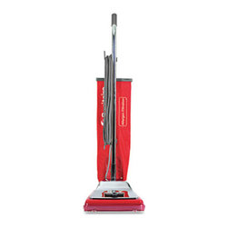 Electrolux Sanitaire - Electrolux Sanitaire Heavy-Duty Commercial Upright Vacuum, 17.5lb, Chrome/Red - This high-quality commercial vacuum will not disappoint. The Micron Filter system retains up to 99% of pollens and dust great for the hospitality industry where high standards of cleanliness need to be maintained at all times. Designed with the Quick Kleen removable, clear fan chamber that allows for easy access when unit needs service. The Vibra Groomer II chrome steel brush roll is capable of handling the toughest jobs. Plus, the six carpet height settings allow you to choose the correct height for a variety of carpets great for large commercial buildings. For convenience and durability, cleaner is equipped with vinyl bumper, large easy-roll wheels and chrome steel motor hood. Utilizes disposable F & G dust bags. All-metal ball bearing brush roll with replaceable bristle strips, lifetime lubricated.