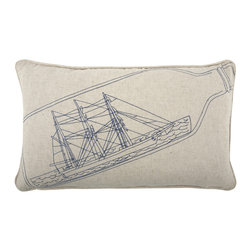 """Thomas Paul - Ship In Bottle Scrimshaw Pillow - The handmade Thomas Paul Ship In Bottle Scrimshaw throw pillow features an embroidered nautical design on an unbleached flax & cotton blend that is reminiscent of the art of scrimshaw. Scrimshaw is the name given to the detailed engravings and carvings done in bone or ivory, by whalers and sailors. It dates back as far as 1745. That level of intricate work is celebrated through this piece's embroidery of a nautical design.   About the Artist: After graduating from NYC's famed FIT, Thomas Paul started his career as a colorist and designer at a silk mill. Eventually, he leveraged his knowledge of silk materials & print to launch a neckwear line of his own. Over time, Paul loved the idea of applying menswear print and design into a collection of home decor, which is what we see in his goods today. His background has embedded in him a passion for quality production techniques. Even as his brand grows, he continues to ensure all of his prints are hand screened - a slow, detailed process that results in each piece being a unique piece of artwork. Paul also pushes the envelope in terms of bold prints and hand ground materials.       """"My vision for the thomaspaul brand has always been about combining classic design motifs from different periods in textile design. Incorporating anything from an 18th century Damask pattern to a camouflage print. The unifying thread between so many different styles is to change the designs so they are updated for today. For me this means changing the scale, so they are always bold, and reducing down the colors and details, so most designs are reduced to two or three colors and become very flat, bold prints. I am always looking to vintage fabrics and motifs for inspiration and new ideas, but always try to update these to look good for today."""" - Thomas Paul   Product Details:"""