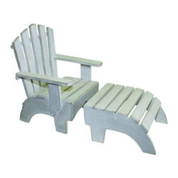 "Dr. Livingstone I Presume - Distressed Antique White Adirondack Chair Plus Foot Stool - Perch one of your lounging bathing beauties in this authentic looking Adirondack chair. You may even craft a small towel to drape or a small pillow to angle. Pull up the coordinating foot stool as an added option. Hand crafted from wood with a weathered whitewash finish. (DLIP) Choose yes please or no thank you for foot stool Chair: 8.25"" wide x 8"" deep x 11.75"" high; Stool: ""wide x 8"" deep x 4.25"" high"