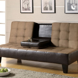 Coaster - Tan Transitional Sofa Bed - Sofa bed constructed of a kiln dried hardwood frame, sinuous spring base, and wood legs. Middle cushion drops down to be used as a table or cup holder. Covered in tan micro fiber and dark brown vinyl.