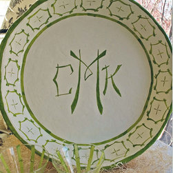 FABULOUS Monogrammed Decorative/Serving Tray by Pinktique - I love this monogrammed, green, bamboo-print serving tray.